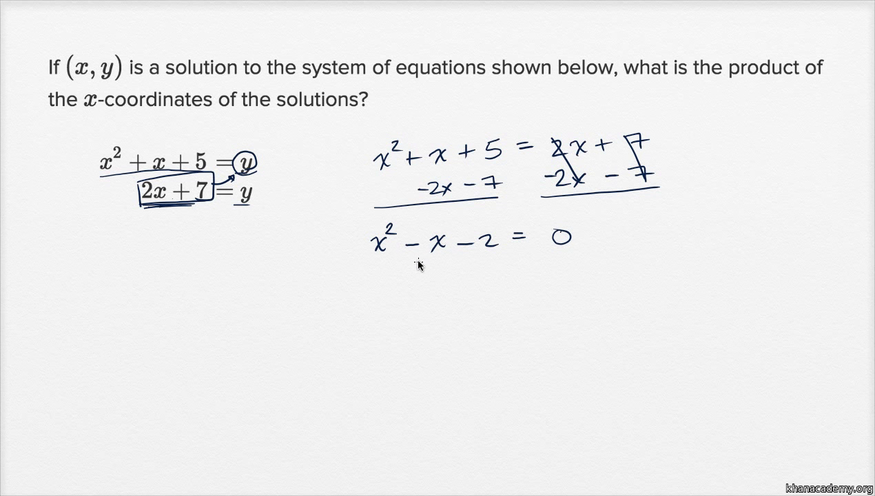 Linear And Quadratic Systems Basic Example Video Khan Academy