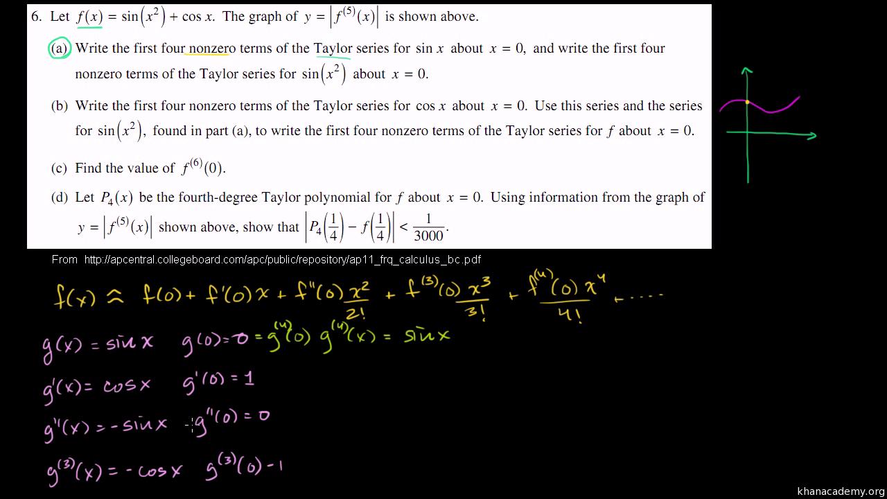 2011 Calculus BC free response #3 (b & c) (video)   Khan Academy