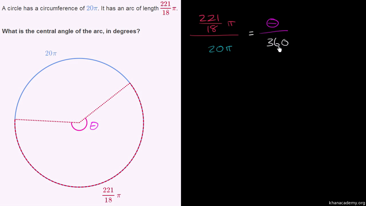 Arc length from subtended angle video khan academy ccuart Images
