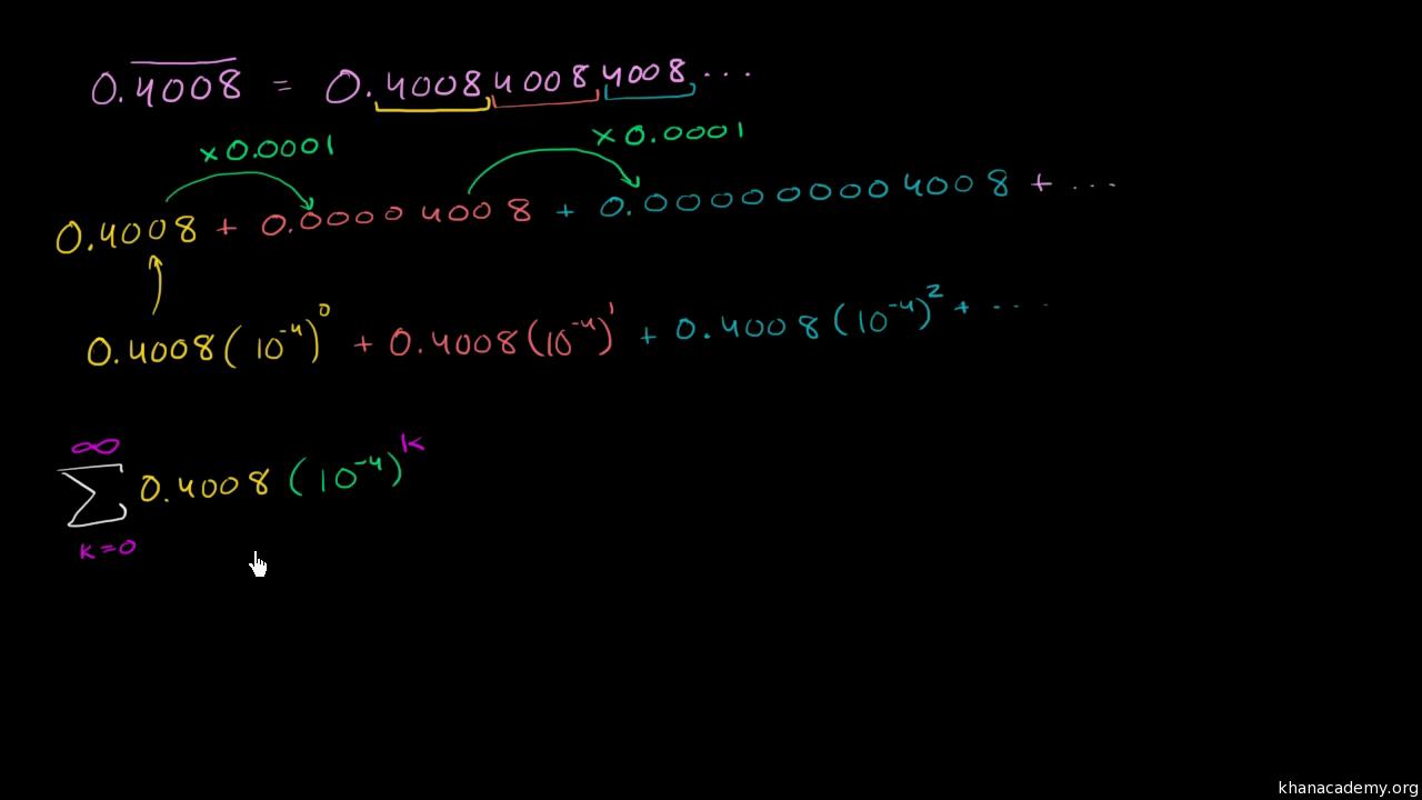 Infinite geometric series word problem repeating decimal video infinite geometric series word problem repeating decimal video khan academy biocorpaavc Choice Image