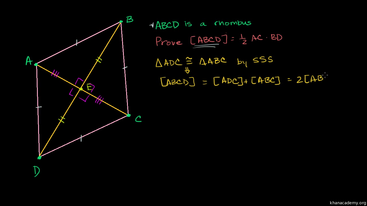 Proof: Rhombus Diagonals Are Perpendicular Bisectors (video)  Khan Academy
