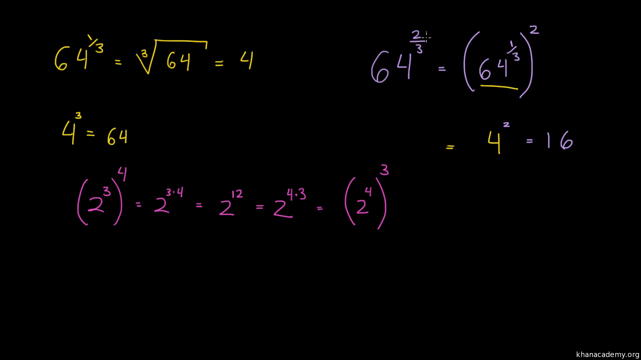 Exponentes racionales y radicales | Álgebra I | Matemáticas | Khan ...