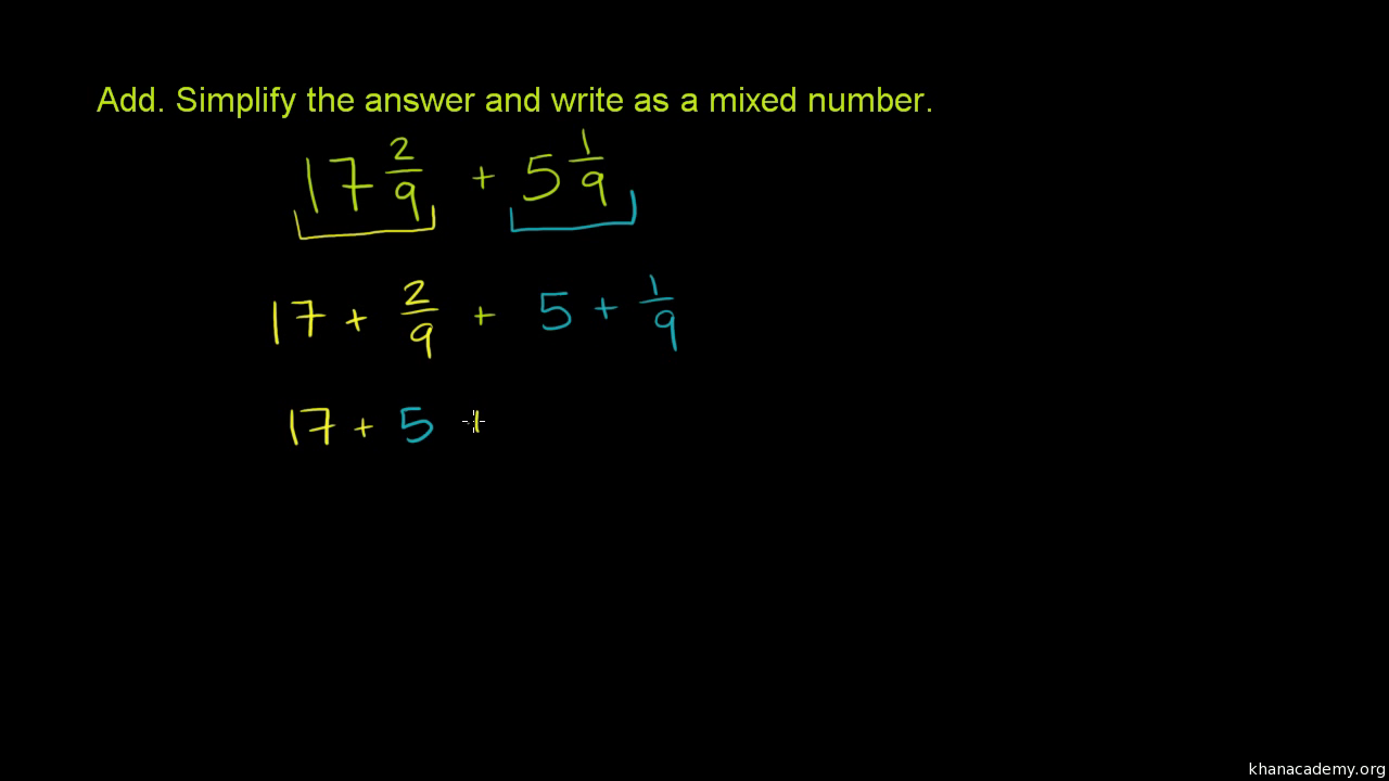 Worksheet Word Problems With Mixed Numbers adding mixed numbers word problem video khan academy
