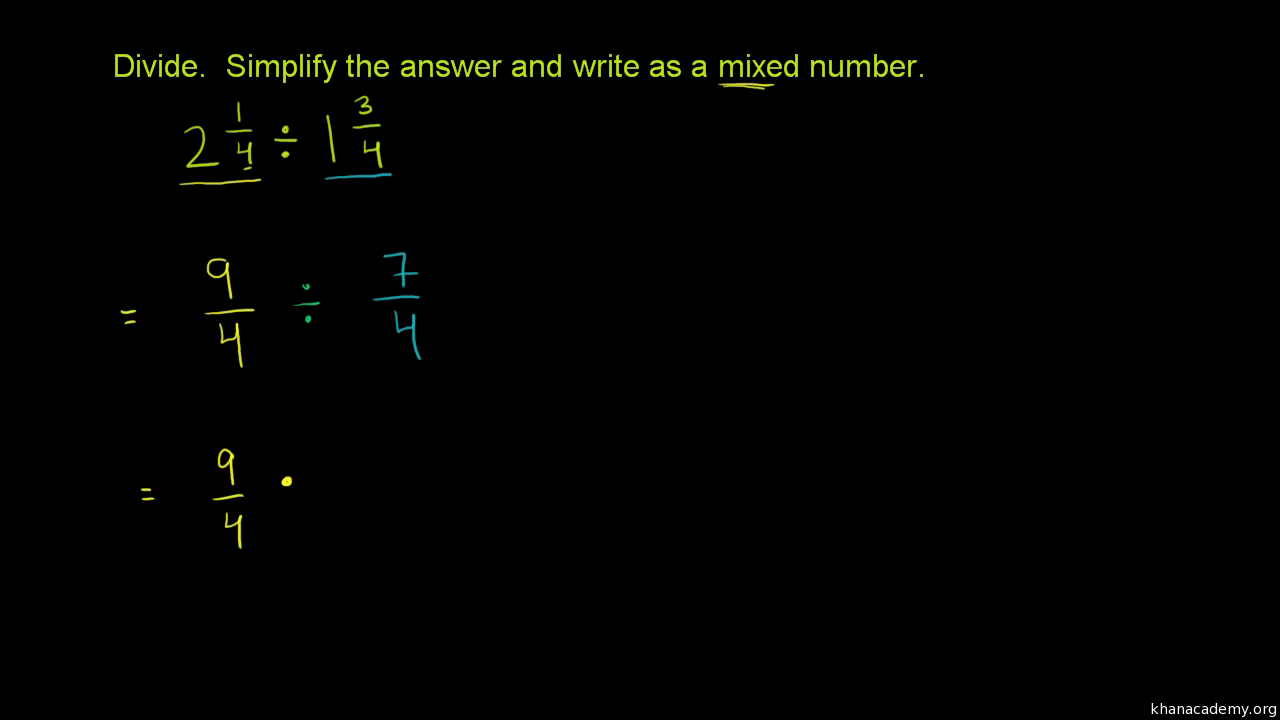 worksheet Dividing Mixed Numbers dividing mixed numbers video khan academy