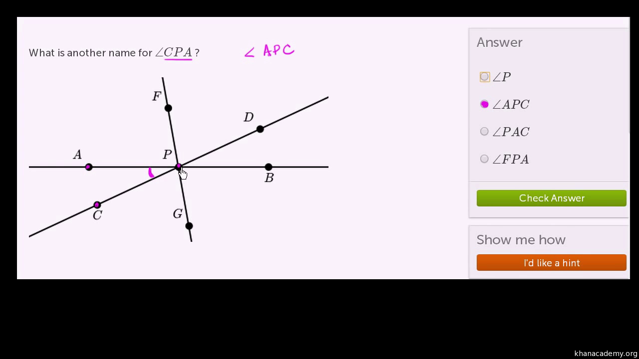 worksheet Naming Angles name angles angle introduction practice khan academy