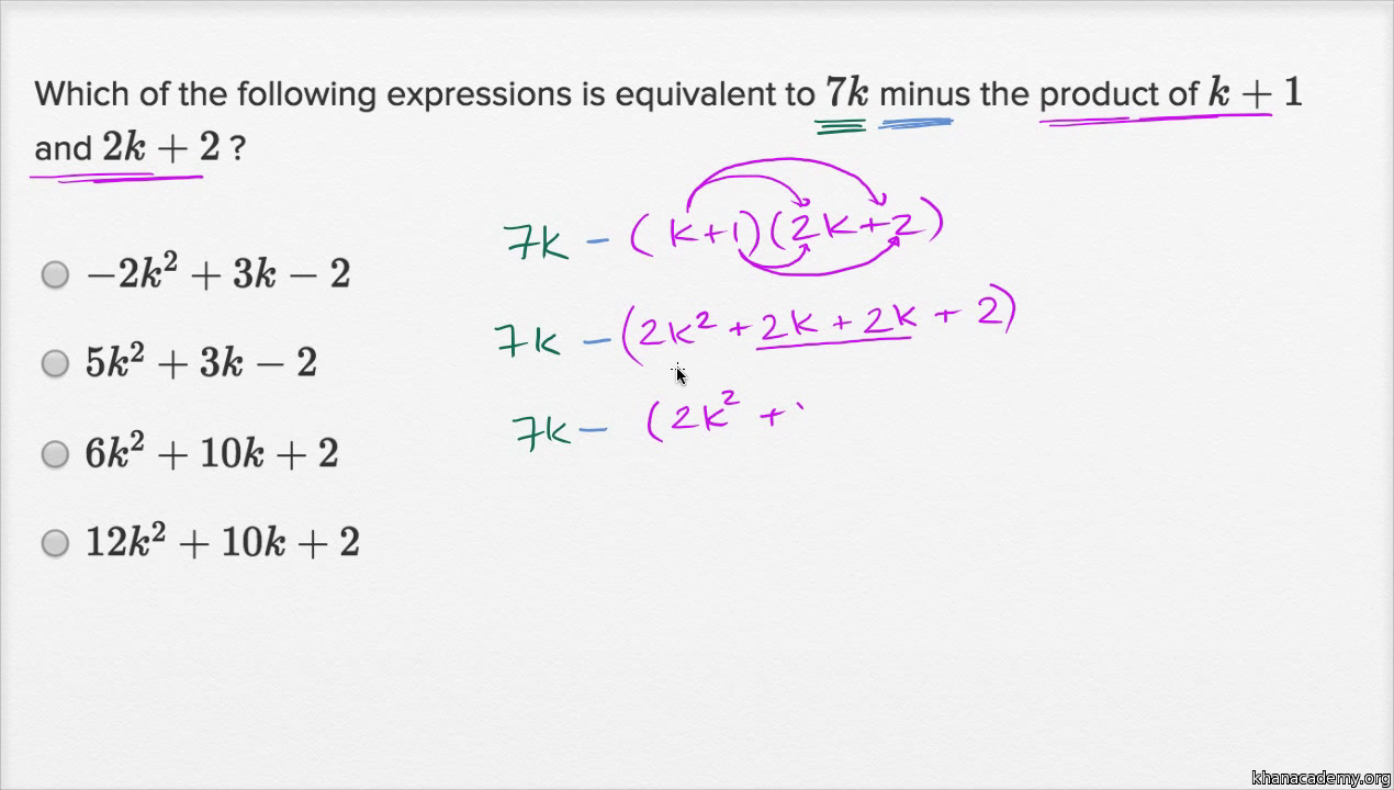 worksheet Basic Polynomial Operations operations with polynomials basic example video khan academy