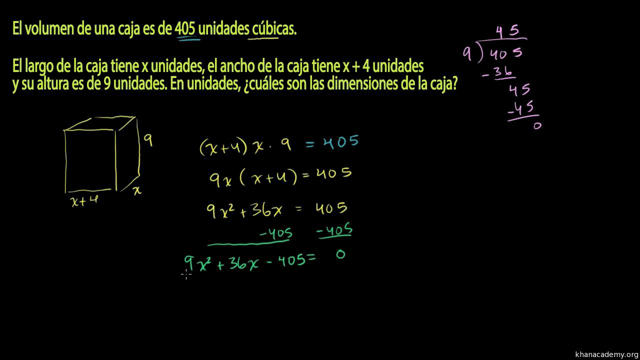 Problema verbal de ecuaciones cuadráticas: dimensiones de una caja ...