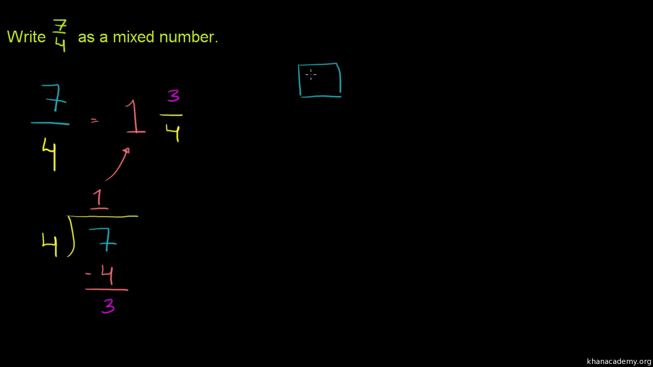 Rewriting Mixed Numbers As Improper Fractions Video Khan Academy