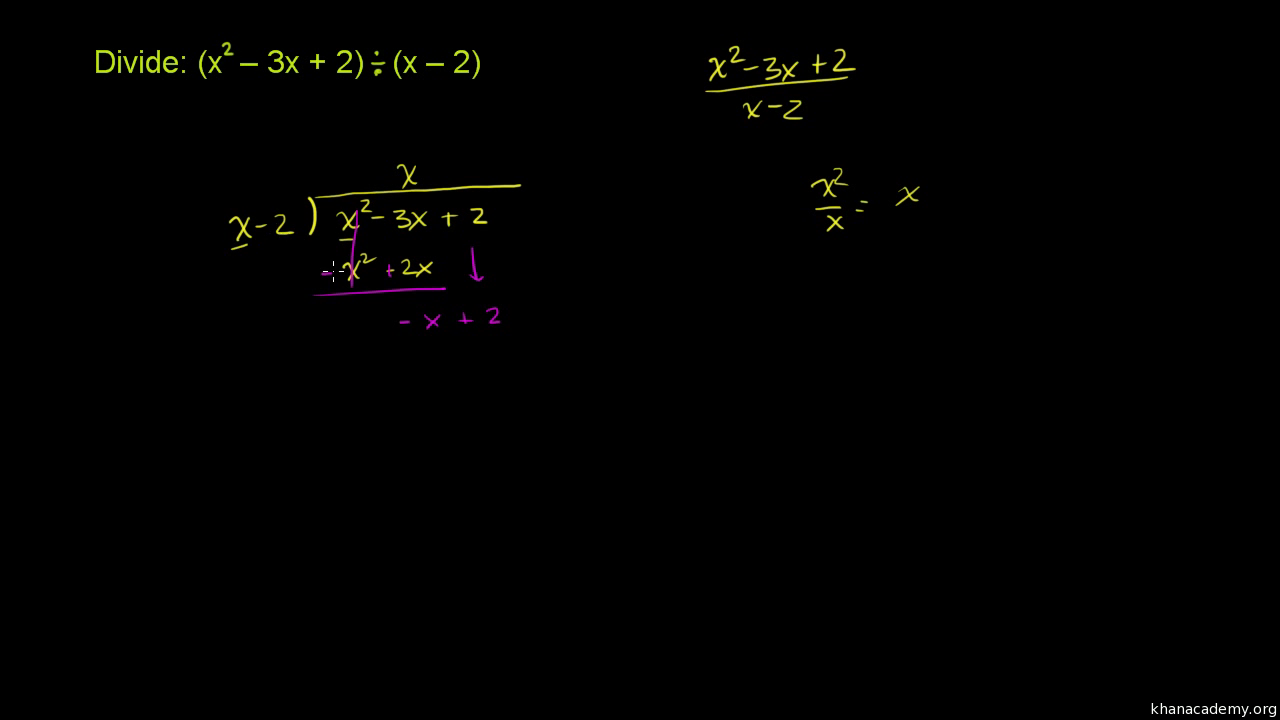 Intro To Long Division Of Polynomials Video Khan Academy