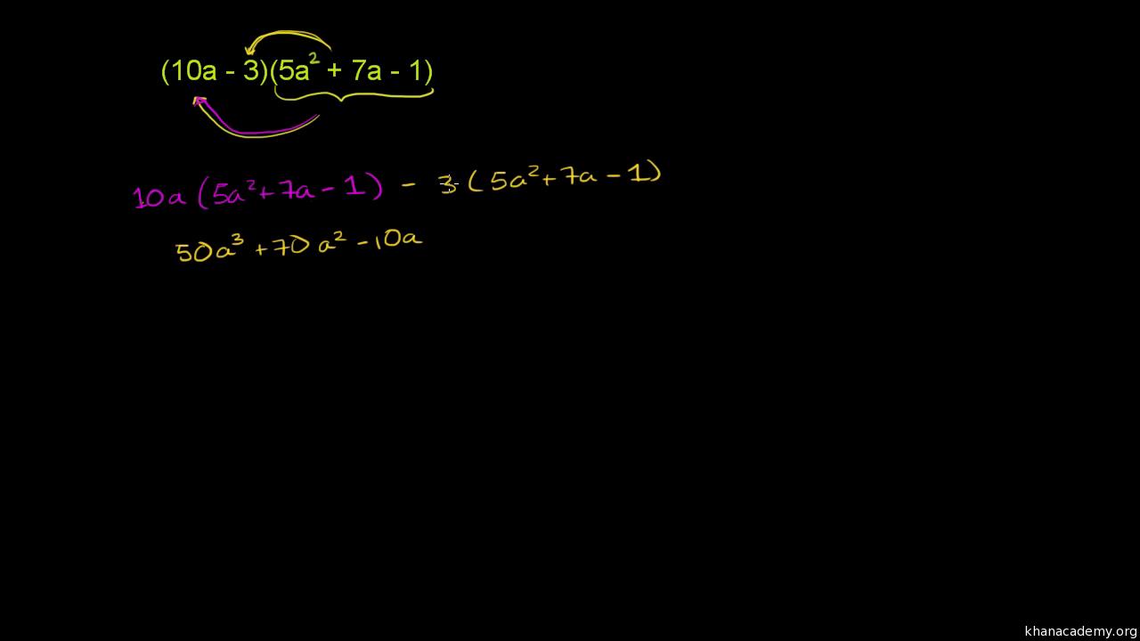 Binome mit Polynomen multiplizieren (Übung)   Khan Academy