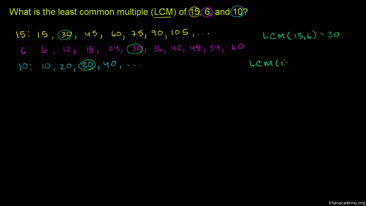 Worksheet Lcm Of 15 And 10 least common multiple of three numbers video khan academy