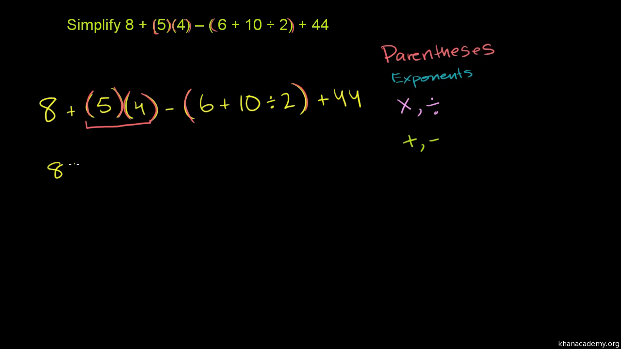 worksheet Order Of Operations With Brackets And Parentheses Worksheets worked example order of operations pemdas video khan academy