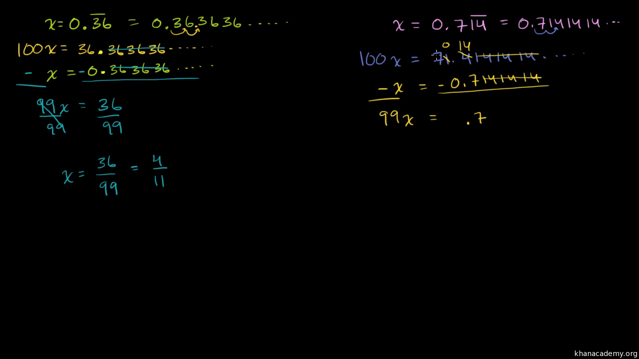 Converting repeating decimals to fractions (part 2 of 2) (video) | Khan  Academy