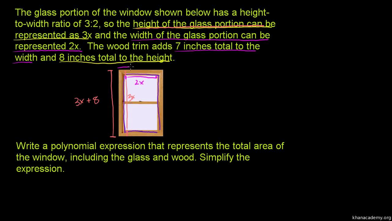 Polynomial word problem rectangle and circle area video khan polynomial word problem rectangle and circle area video khan academy falaconquin