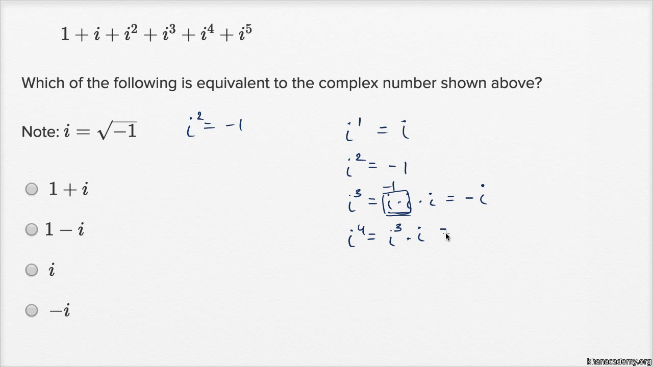 Complex numbers — Harder example (video) | Khan Academy