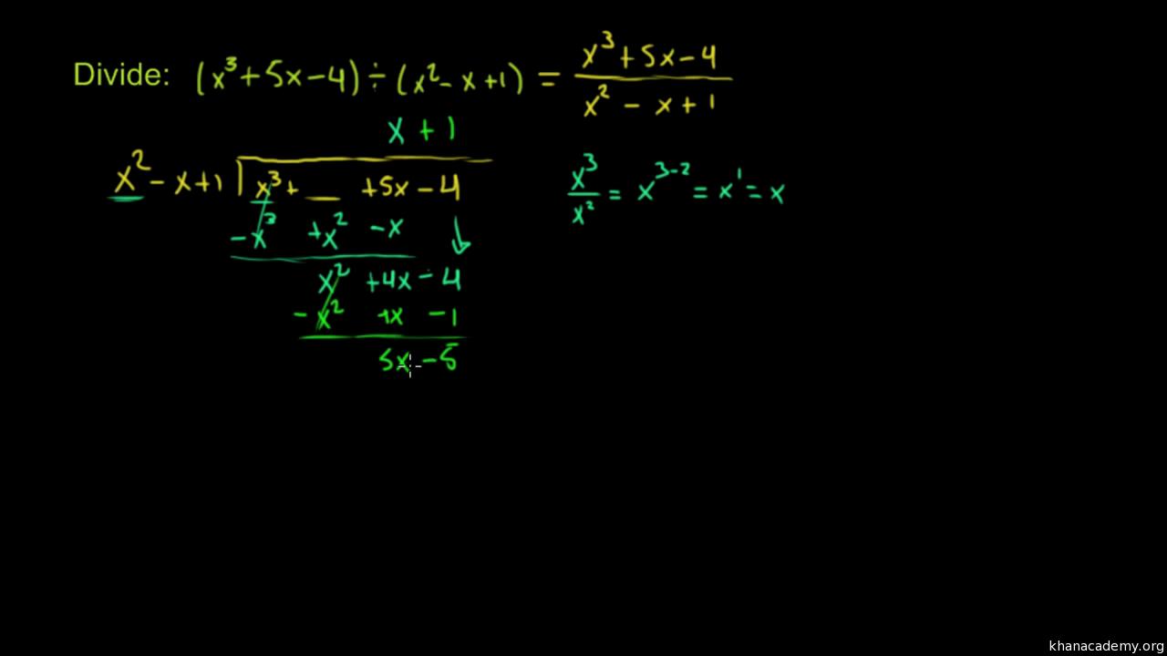 Dividir polinomios con residuos (video) | Khan Academy