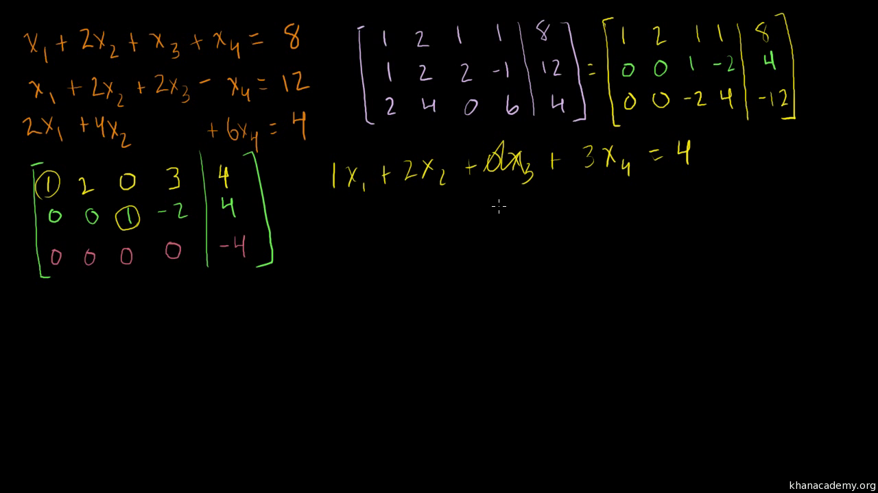 Solving a system of 3 equations and 4 variables using matrix row ...