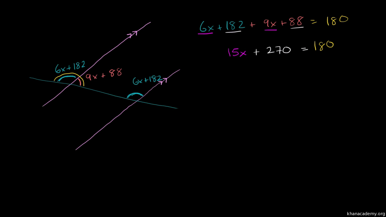 Equation practice with angle addition (practice) | Khan Academy