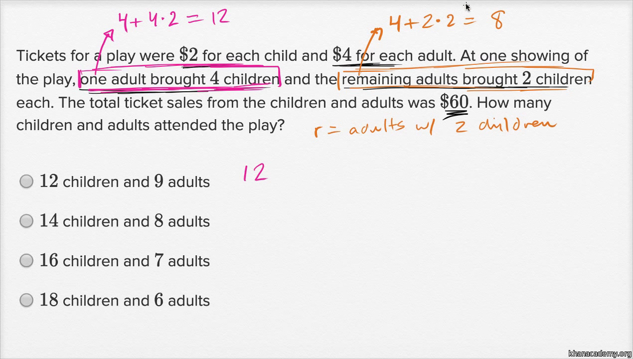 systems of linear equations word problems — harder example (video