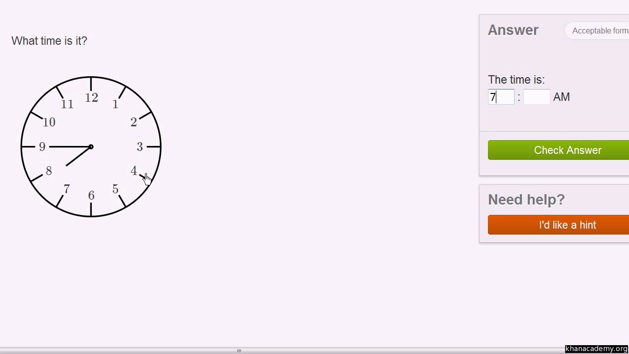 Telling Time Labeled Clock Video Time Khan Academy
