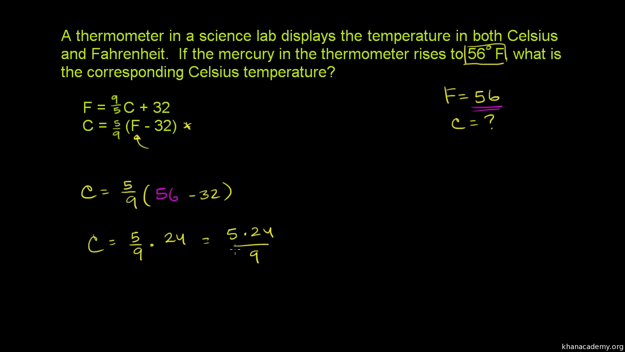 Converting fahrenheit to celsius video khan academy geenschuldenfo Images
