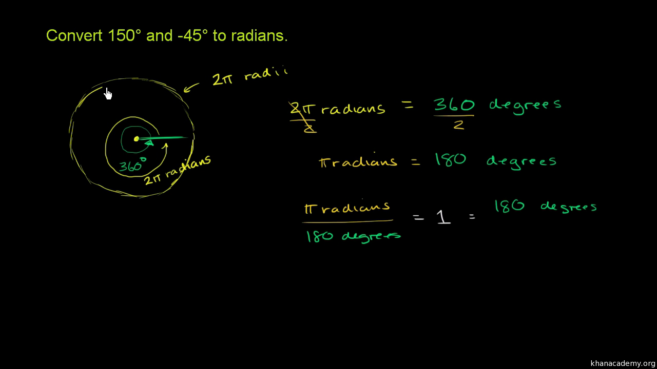Radians degrees video trigonometry khan academy buycottarizona