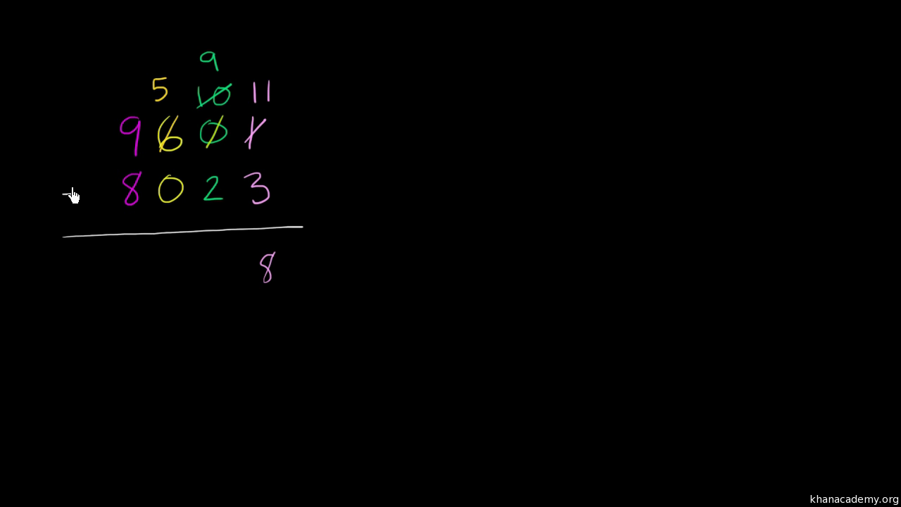 Multi-digit subtraction with regrouping: 6798-3359 (video) | Khan ...