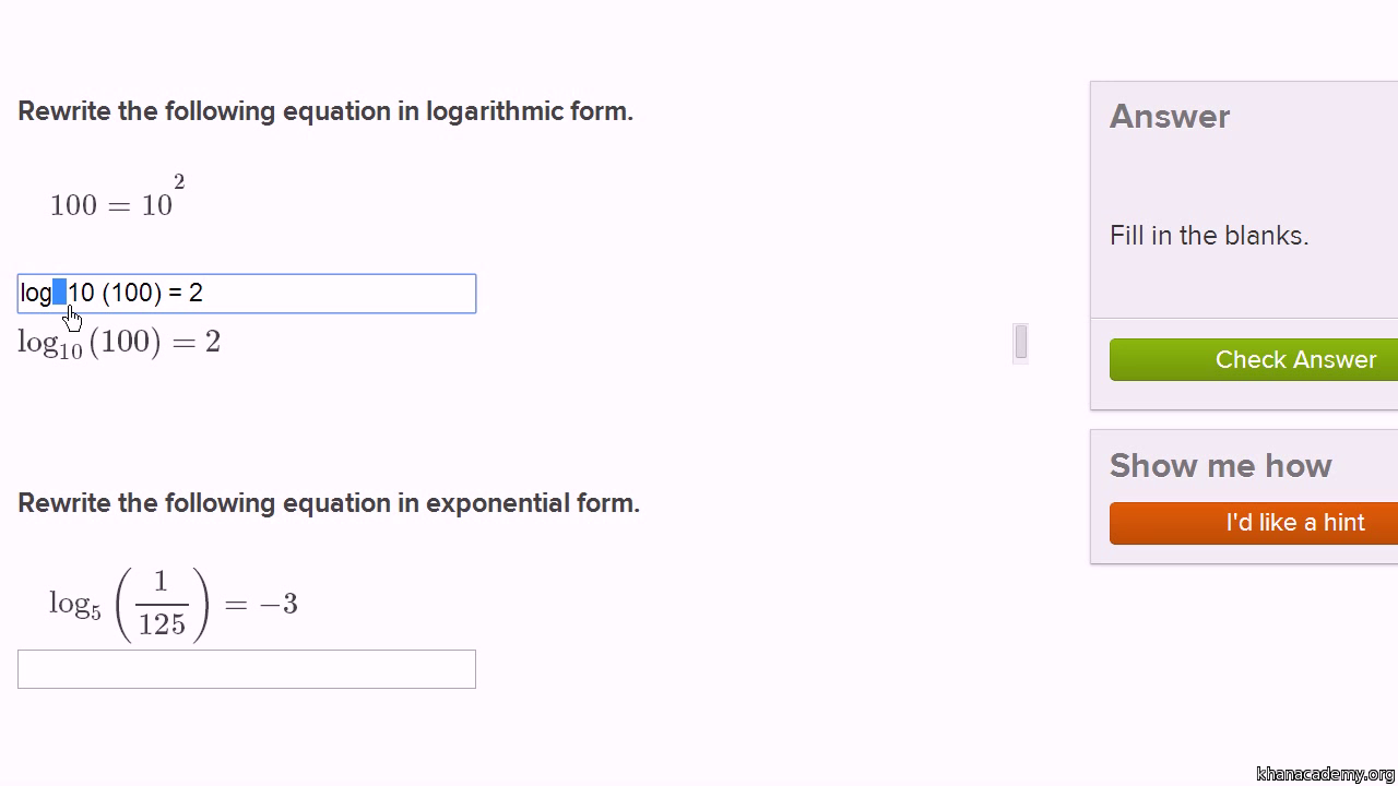 worksheet Solving Exponential Equations With Logarithms Worksheet exponentials logarithms algebra ii math khan academy