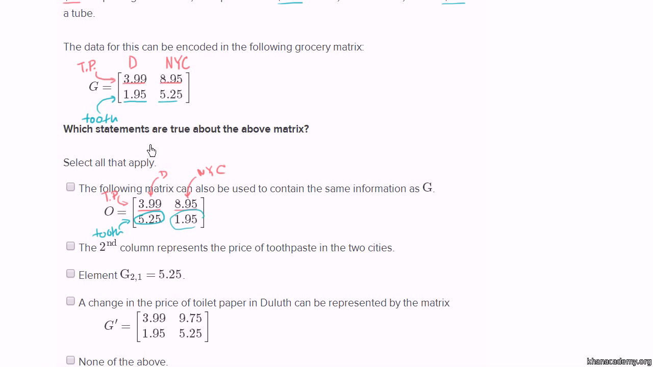 Matrix Word Problem Prices Video Khan Academy