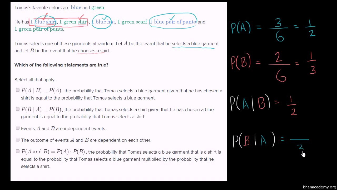 Calculating Conditional Probability Video Khan Academy