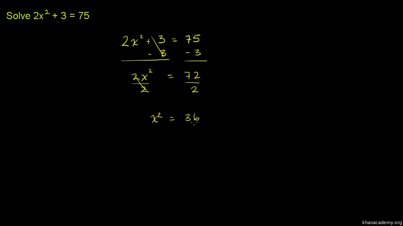 Solving Quadratics By Taking Square Roots: Challenge (video)  Khan Academy
