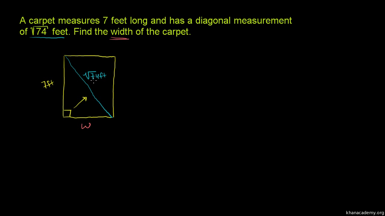 pythagorean theorem word problem carpet video khan academy