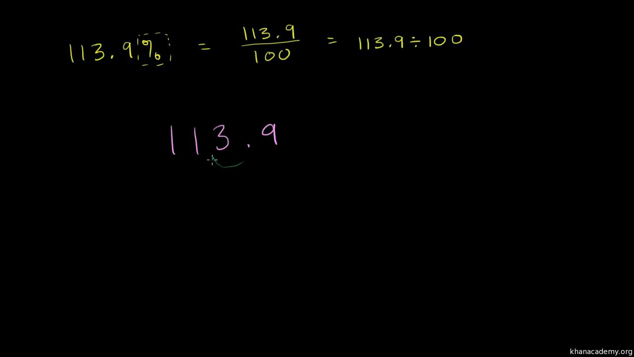 converting percents to decimals & fractions example (video) | khan