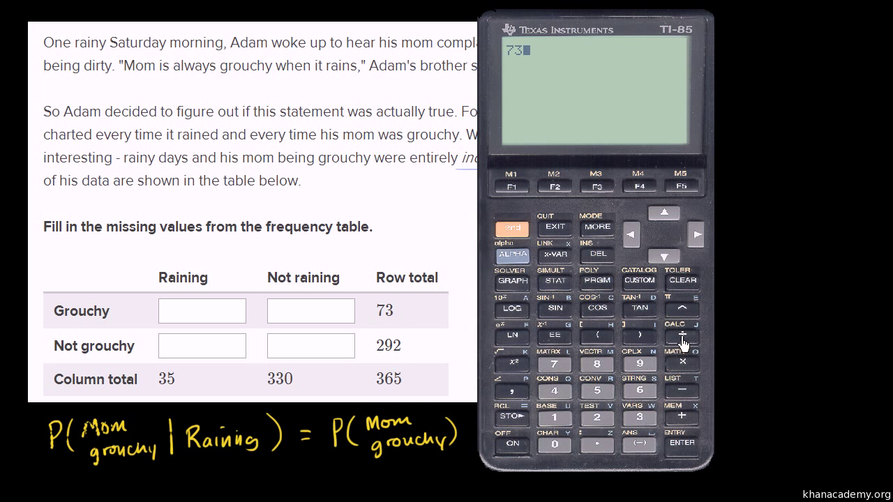 Filling Out Frequency Table For Independent Events Video Khan 2 Way Switch Meaning Academy