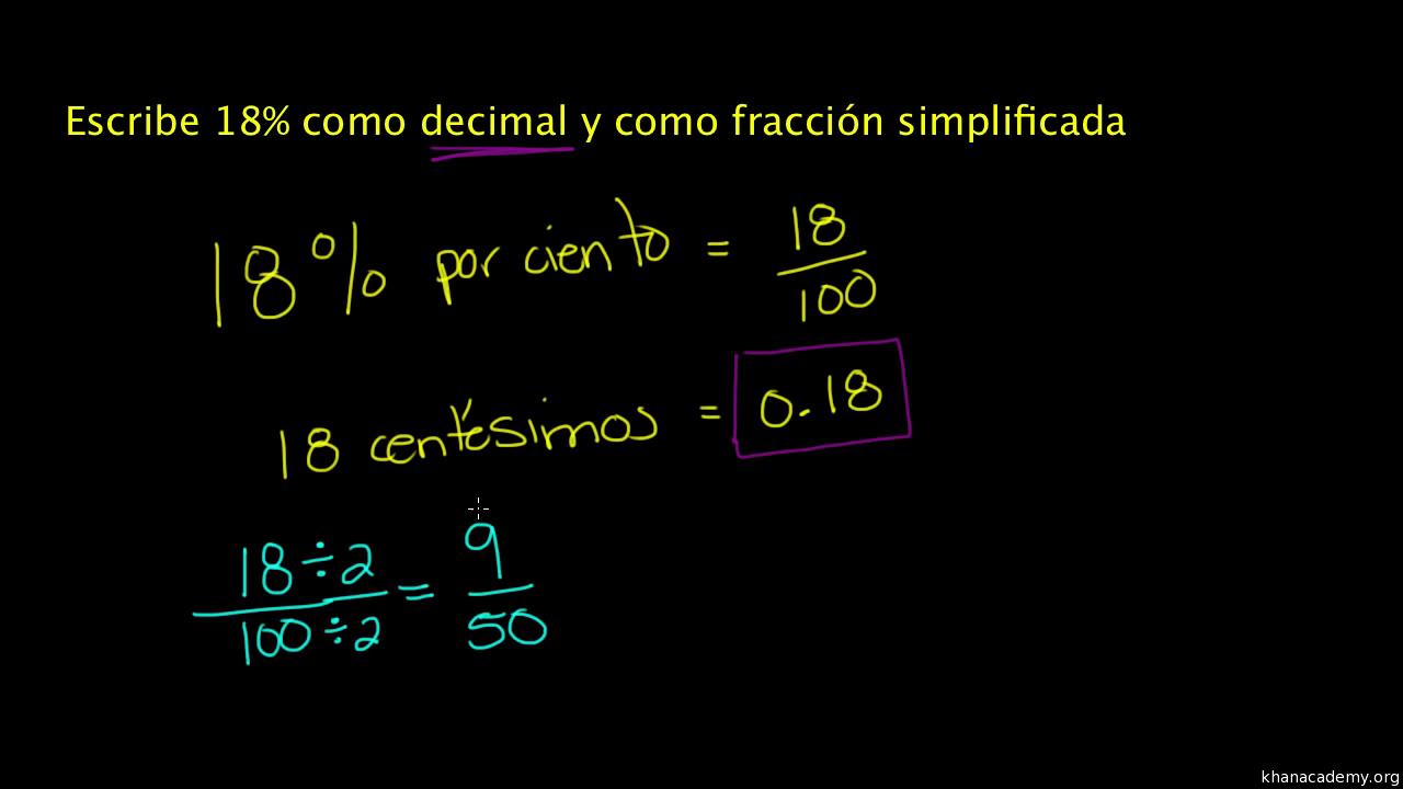 Convertir porcentajes a decimales y fracciones. Ejemplo (video ...