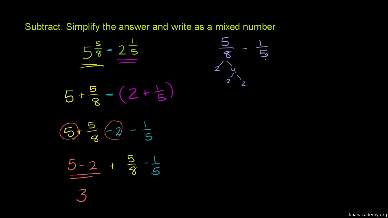 Add And Subtract Mixed Numbers With Unlike Denominators 1 (practice)  Khan  Academy