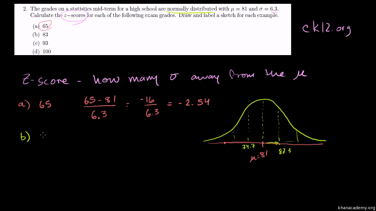Normal Distribution Problem: Zscores (from Ck12) (video)  Khan Academy