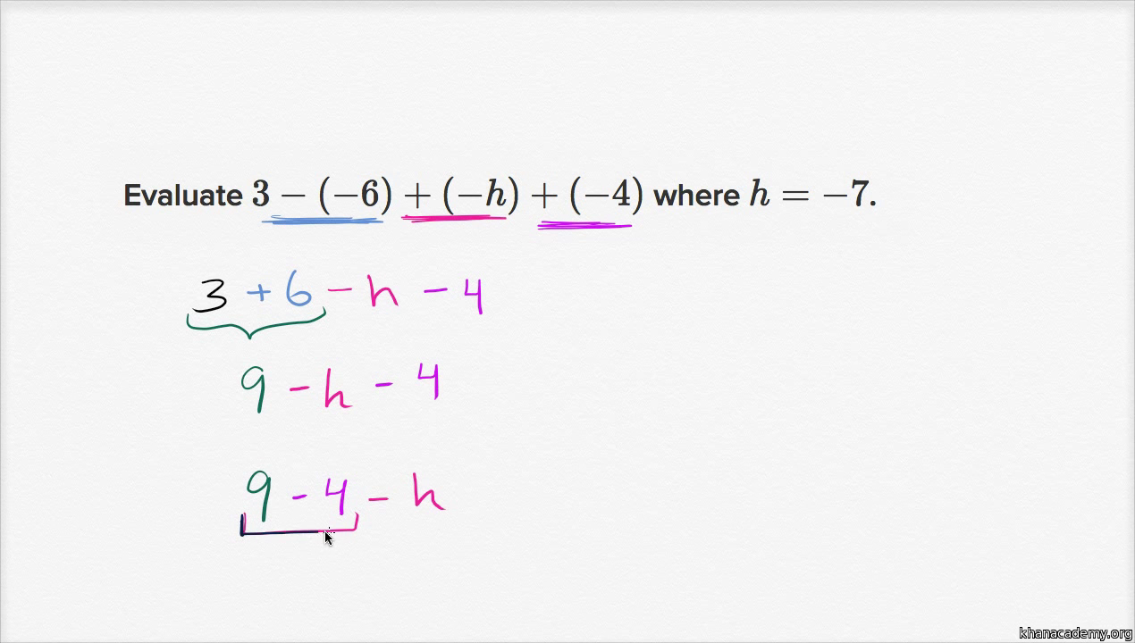 worksheet Adding Integers Worksheet Pdf substitution with negative numbers practice khan academy
