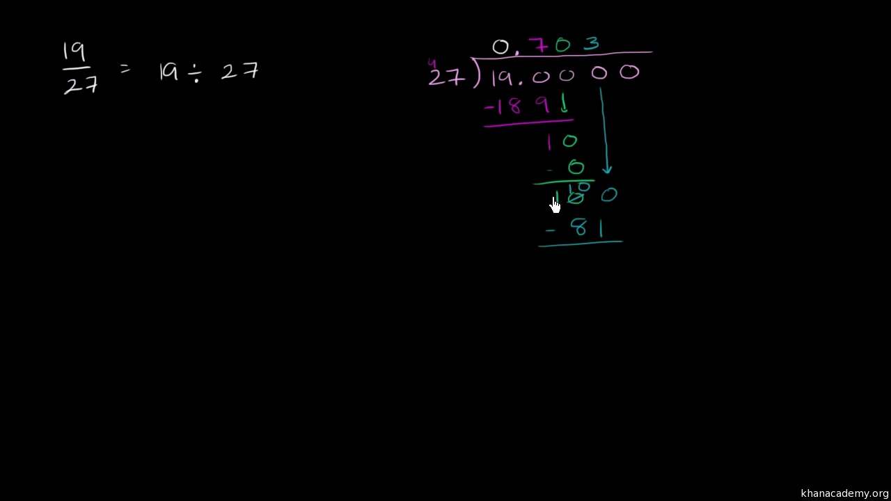 Converting a fraction to a repeating decimal video khan academy biocorpaavc Choice Image