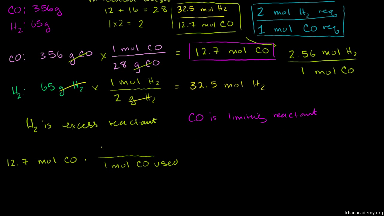 Stoichiometry limiting reagent video khan academy robcynllc Image collections