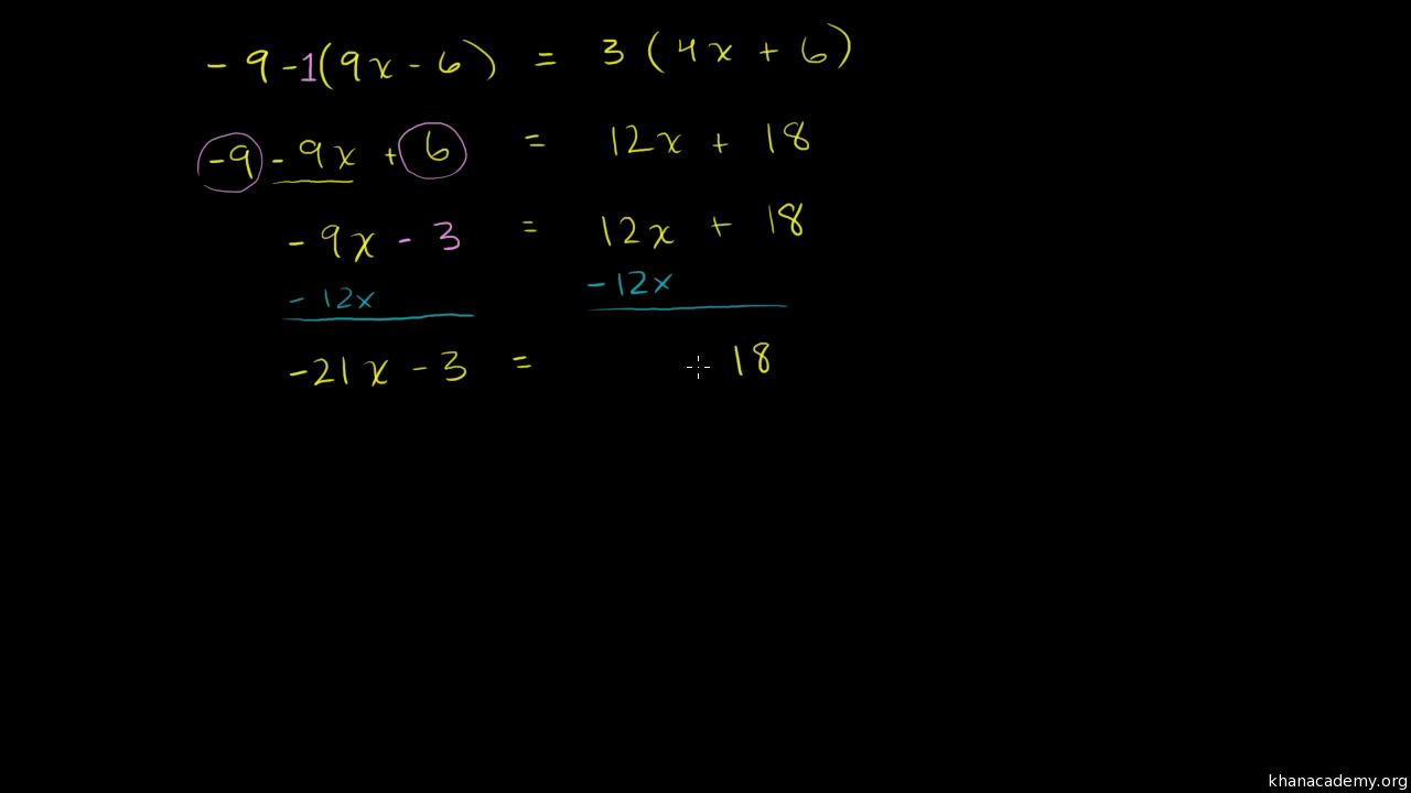 Solving Equations With One Unknown 8th Grade Math Khan Academy