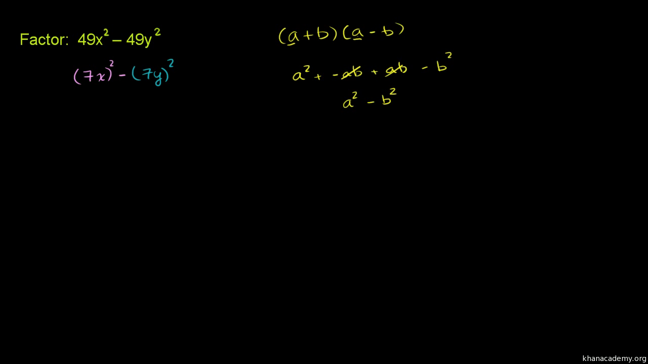 Factoring Difference Of Squares Two Variables Video Khan Academy