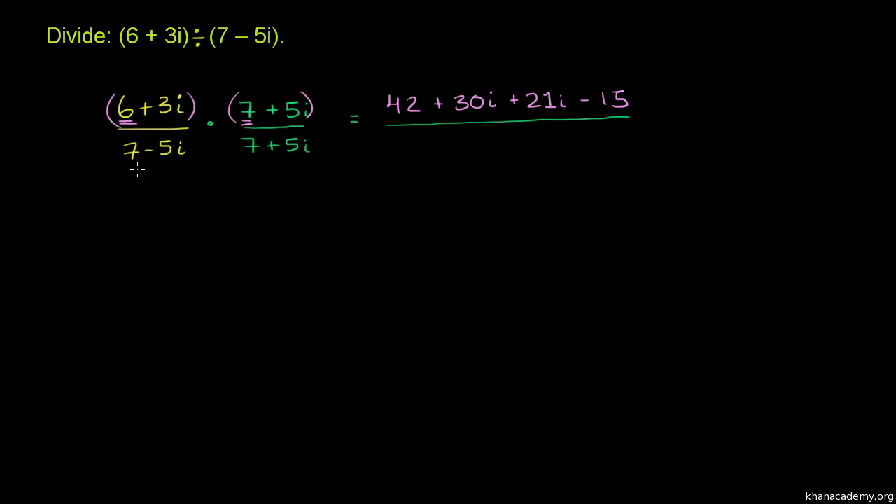 Dividing complex numbers (video) | Khan Academy
