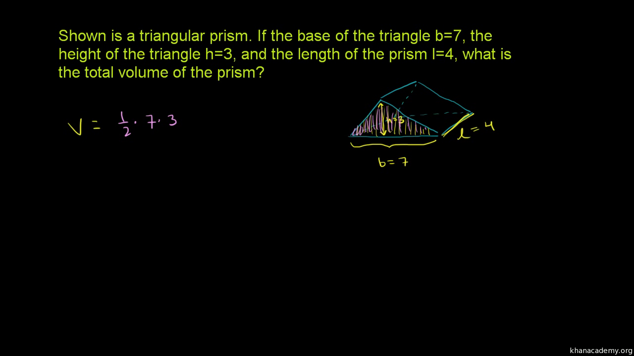 Volume Of Triangular Prism Cube Video Khan Academy