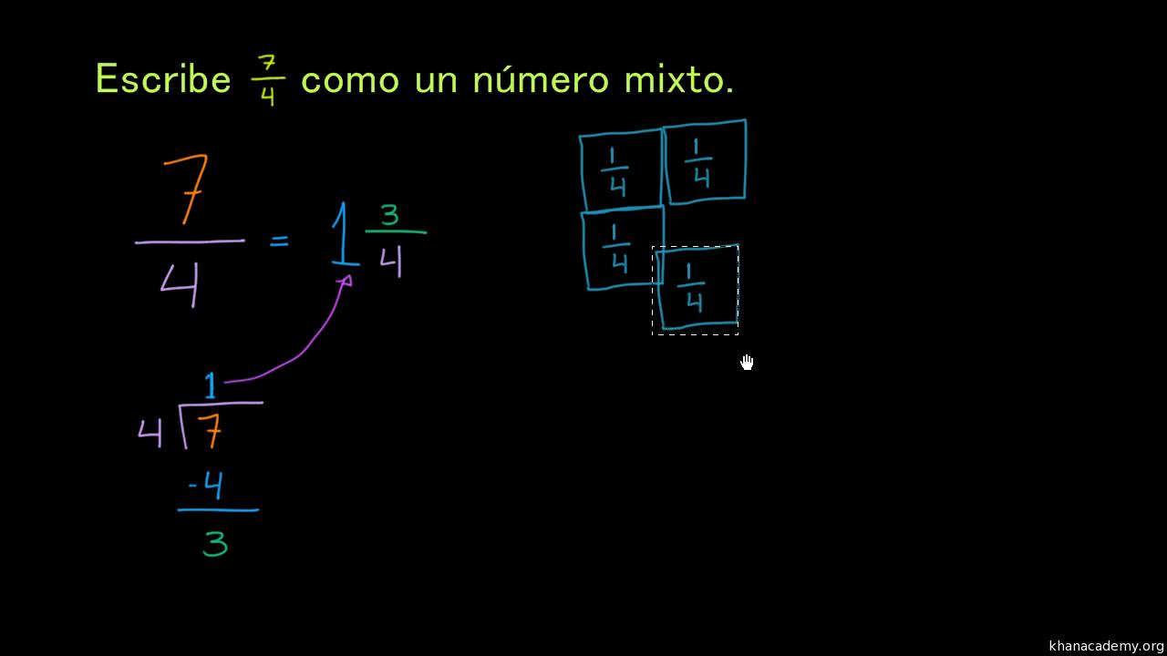 Reescribir fracciones impropias como números mixtos (video) | Khan ...
