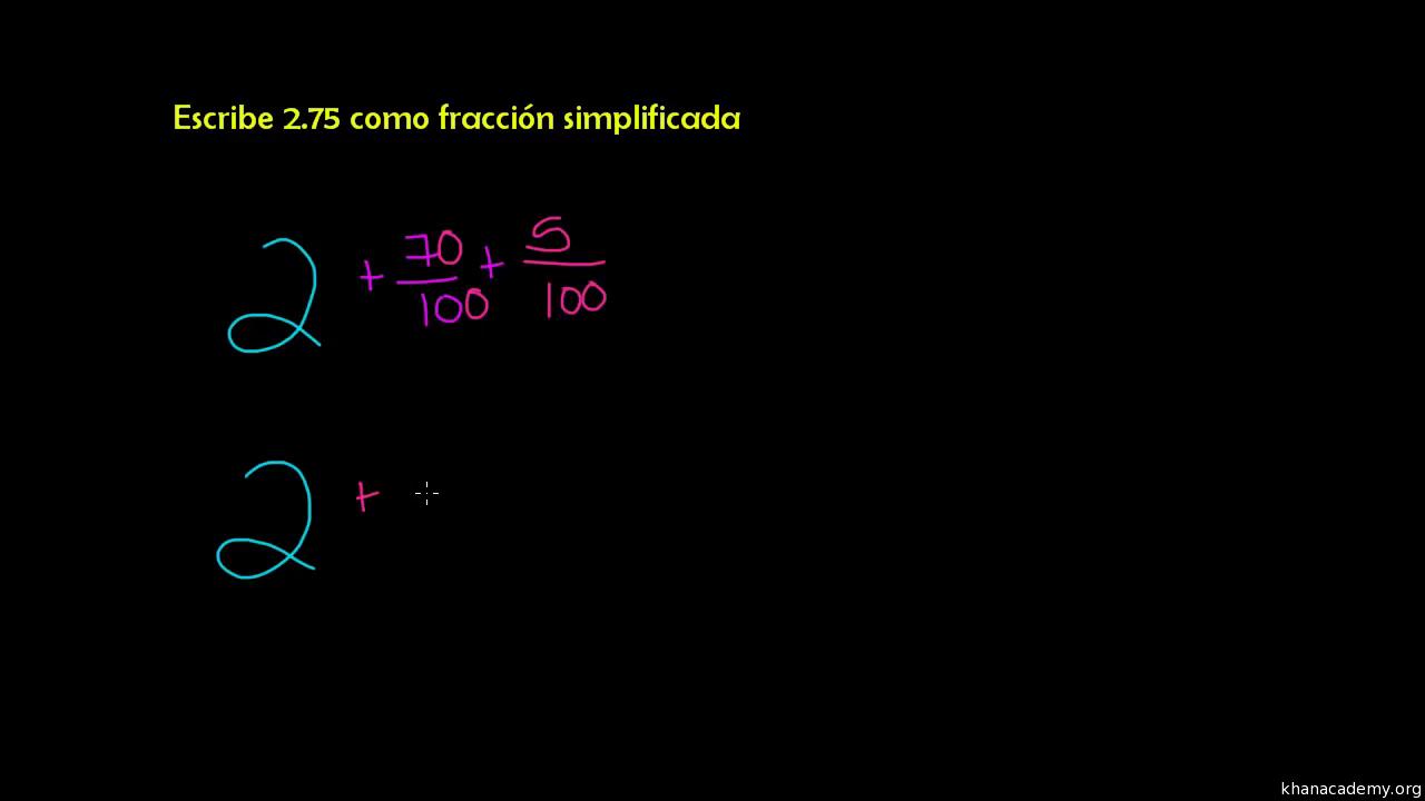 Conversión de decimal a fracción simplificada (video)   Khan Academy