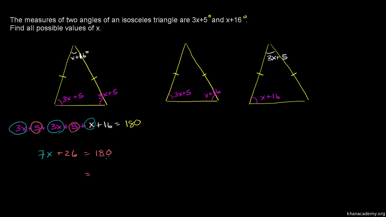 Finding Angles In Isosceles Triangles (example 2) (video)  Khan Academy
