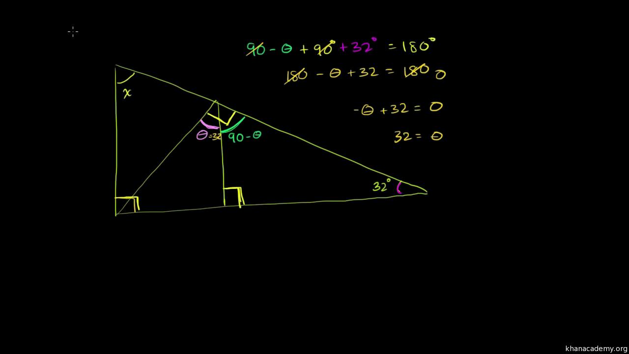 Encontrar ángulos de triángulos (practica) | Khan Academy