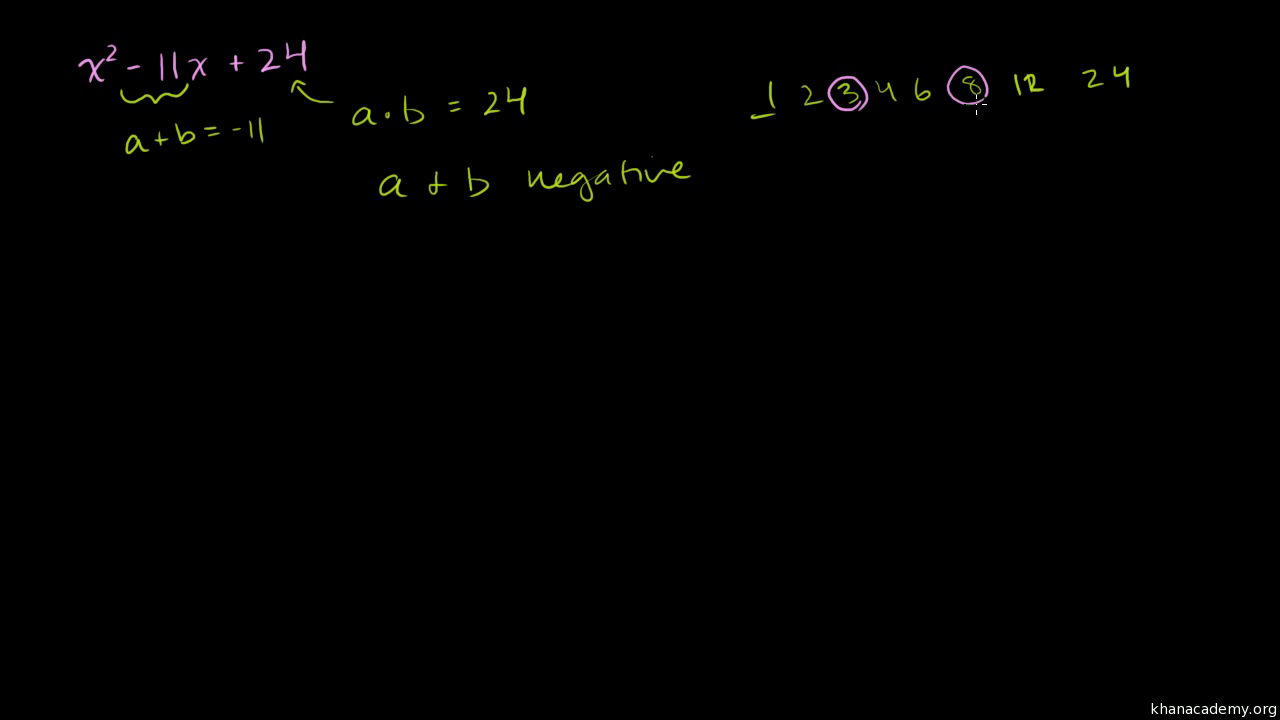 More Examples Of Factoring Quadratics As (x+a)(x+b) (video)  Khan Academy
