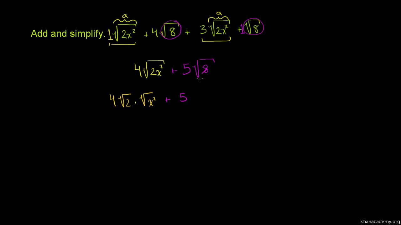 Simplifying radical expressions: three variables | Algebra (video ...